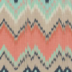 Coral, Aqua and Navy Ikat Chevron fabric by sparrowsong on Spoonflower - custom fabric