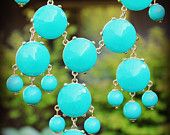 ON SALE 34.00 Handmade Bubble Statement Necklace Turquoise