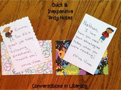 Quick and Inexpensive Brag Notes:  very easy tips for sending home brag notes about students!