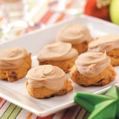 pumpkin cookies with caramel frosting.