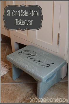 Step Stool for Kids' bathroom. This was a $1 yard sale find! decor, diy woman, chalk paint, step stools, diy sunday, kids step stool, paint inspir, kid bathrooms, painted step stool