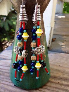Tibetan Buddhist prayer flag inspired handmade boho gypsy earrings by JupiterOak