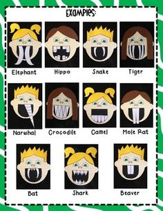 WHAT IF YOU HAD ANIMAL TEETH!? CRAFTIVITY PACK - TeachersPayTeachers.com