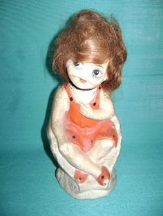 """Antique Deco Googly Eyed Chalkware Girl in Clamshell w """"Real"""" Hair Must Look 
