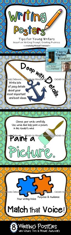 8 colorful writing posters, created based on writing prompt grading rubrics, as well as traits of good writing. Each poster includes a memorable phrase, a description of the writing tip /strategy, and a picture analogy with which to connect.