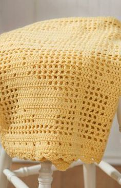 Filet Crochet Bunny Blanket Free Pattern from Red Heart Yarns