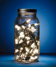 Fill a large Mason jar with a strand or two of battery-powered lights to add whimsy to a walkway or a nightstand.