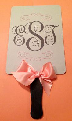 Monogrammed Fan Wedding Program with Ribbon Bow