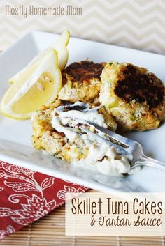 Skillet Tuna Cakes & Homemade Tartar Sauce - Tuna combines with boxed stuffing mix to make these delicious tuna cakes - served with my favorite simple tartar sauce!