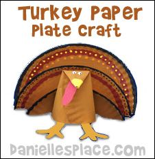 Thanksgiving Craft - Turkey Paper Plate Craft for Kids from www.daniellesplace.com