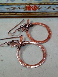 Copper Wire Wrapped Hammered Hoop Earrings Oriental Design | stonemountainjewelry - Jewelry on ArtFire $28