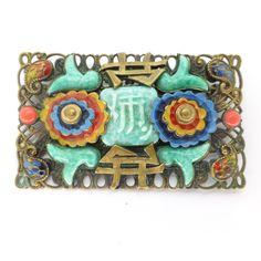 Vintage Czech Art Deco Neiger Oriental Peking Glass Enamel Pin Brooch | Clarice Jewellery | Vintage Costume Jewellery