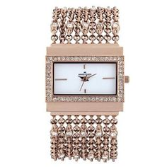 Anne Klein Women's 109706WTRG Swarovski Crystal Rosegold-Tone Rectangular Shape Chain Bracelet Watch-- 33% DISCOUNT & FREE SUPER SAVER SHIPPING for a limited time!--->  http://amzn.to/16aileY