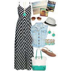 Summer maxi dress outfit with denim vest and mint accessories