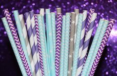 50 Paper Straw, Disney FROZEN Party Paper Straws, Elsa The Snow Queen, Frozen Princess Party, Winter, Ice Skating, Frozen Birthday Party, on Etsy, $8.00
