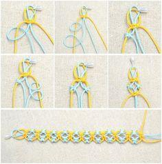 Friendship bracelet with larks knots.