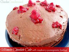 Ultimate Chocolate Cake with Raspberry-Pomegranate Frosting by Clarks Condensed