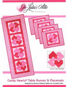 Candy Hearts  Valentine Runner and Placemats Pattern, now available at www.craftsy.com. The paper-pieced block features hearts for your Valentine--it's not too soon to start stitching! candi heart, quilt, patterns, heart valentin, craftsi, candies, valentin runner, featur heart, runner pattern