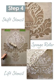 Corsini Damask stencil how-to: Use paint and a sponge roller to create a lacy textured effect how to texture paint, how to stencil furniture, how to use stencils, stencil howto, spong roller, stencil paint roller, damask stencil, sponge painting ideas