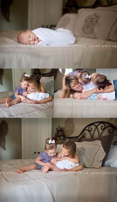 baby & sibling photo ideas I love the idea of using our bed