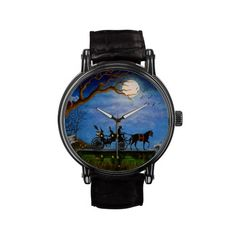 "Vintage Leather Strap..Halloween wedding shower gift for the Halloween fan. Original art titled ""Halloween Honeymoon"" The Vintage eWatchFactory Watch is a big-faced timepiece that will never go out of style. Featuring a three-hand quartz movement and genuine leather strap, this watch's classic look is great for formal or fun occasions.  Black leather strap with buckle closure. Water resistant to 30 meters. Three-hand quartz movement. Powered by battery (included)."