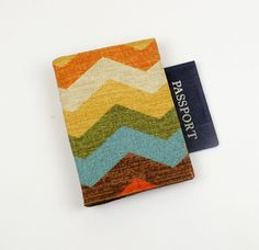Passport Cover with Velcro Closure Panama Wave by QuiltSewCover