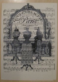 paris l'atelier shabby chic french dress forms on vintage sheet music