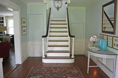 We painted the foyer of our home a robin's egg blue from Donald Kaufman's paint collection (DK21).