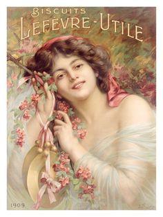 Vintage Advertising ~ ~ Vintage Ad for Lefevre-Utile Biscuits featuring Sara Bernhard ~