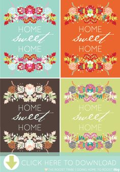 HOME SWEET HOME PRINTABLE - Free Pretty Printables #homesweethome #printable #freeprintable - would make a great embroidery pattern