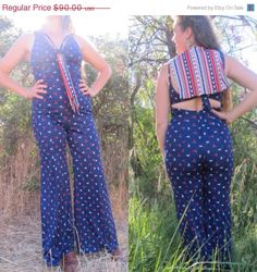 70s American Girl Nautical Bell Bottoms Jumpsuit