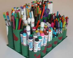 Craft caddy made from toilet paper rolls