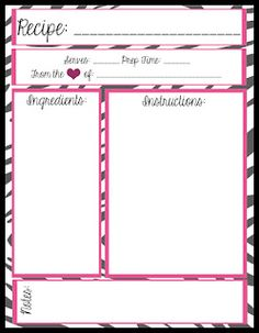 Free Printables! 4 layouts for full page recipe book/binder.  Not my style but I can do this on adobe.
