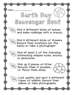 Earth Day: Scavenger Hunt Freebie! Fun activity for the week of Earth Day! Get your class outside and exploring nature. fun activ, earth day scavenger hunt, children activities, scaveng hunt, scavenger hunts, 22 earth, earth activities, april 22, hunt freebi