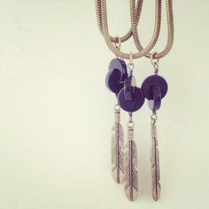 ANKH Guide necklace feather and onyx pendant on vintage brass snake chain on Etsy, $64.00