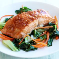 Ginger Salmon Over Bok Choy #myplate #protein #vegetables