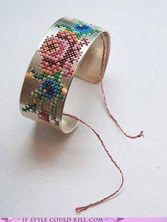 Cross stitch cuff
