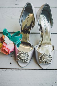 silver jeweled wedding shoes, photo by Jason Hales Photography http://ruffledblog.com/fernbank-museum-wedding #weddingshoes #heels