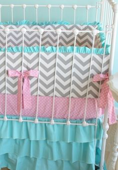 cotton candy chevron bedding