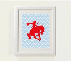 Blue/Red Cowboy/Horse Nursery decor baby by SweetSiennaPrints, $12.00  I'm thinking hunter/jumper motif would be so so cute with the chevron back!!!