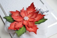Tim Holtz Sizzix Poinsettia Christmas Card