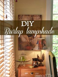 decor, craft, idea, burlap lampshades, dream kitchen, rooster, burlap projects, french country kitchens, diy burlap