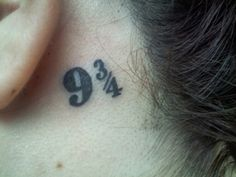 fraction 9 3/4 behind the ear tattoo