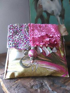 Silk Velvet Beaded Wallet Purse Pouch Vintage by AllThingsPretty, $75.00