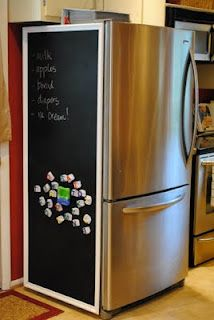Magnetic chalk board on the side of your fridge using chalkboard paint.  I'm TOTALLY for this...I'm not sure Chris would go for it, though.