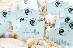 Wendelline Papers Beach place cards in light blue