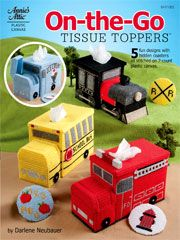 These unique plastic canvas tissue box cover designs include a locomotive, school bus, ice cream truck, fire truck and a florist truck.