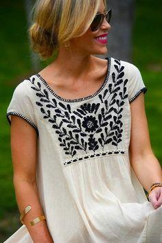 Short Sleeves. Embroidered Dress. #summer #bliss