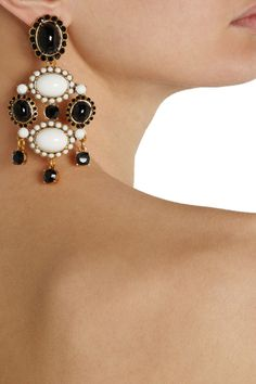 ODLR Black and White Statement Earrings