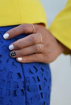 #diy checked nail art